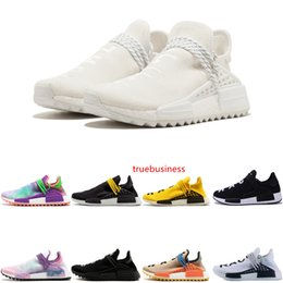 trail trainers UK - High quality cheap Human Race HU trail Running Shoes Men Women Pharrell Williams Holi Blank Canvas Equality trainers man sports man sneakers