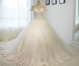 church ball gown wedding dresses Australia - 2019 Ball Gown Wedding Dresses Off The Shoulder Cathedral Train Lace Appliques beaded Bridal Gown For Church Vestido De Noiva Custom Made
