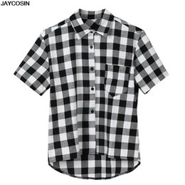 hot paintings Australia - KLV Blouses Summer Men's Short Sleeve Lattice Plaid Painting Large Size Casual Top Blouse Shirt Collar Male Blouse hot sale 9520
