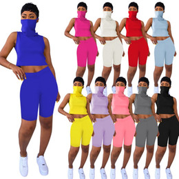 Discount summer hiking mask Women Solid Color Suit Summer Cotton Blend Tank Tops With Mask One Piece T-shrits+Shorts 2 Piece Set Outfits Sleeveless