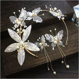 beautiful butterfly wedding dresses Canada - Korean Bride Headwear Celestial Immortals Beautiful Korean Sweet Temperament Wedding Dress Lace Flower Butterfly Hair Hoop Ornaments