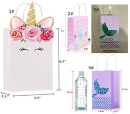 Wholesale Boxes Packaging Australia - Unicorn Mermaid Paper Bags Children Candy Gift Box Handbags Kids Festival Party Birthday Wedding Toys Gifts Cartoon Packages Bag A51701
