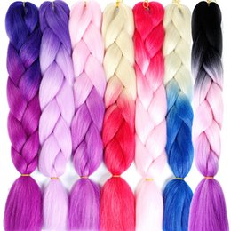 "$enCountryForm.capitalKeyWord Australia - 24"" Kanekalon Braiding Ombre Two Tone Colored Jumbo Braids Hair Synthetic Hair For Dolls Crochet Hair"
