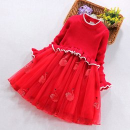 Chinese  Retail girls long sleeve knitted sweater princess dresses for kids designer Christmas teenage girls clothing children boutique clothing manufacturers