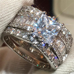 Discount indian princess ring Size 6-10 Choucong Luxury Jewelry Sparkling 925 Sterling Silver&Gold Fill Princess Cut White Topaz CZ Diamond Gemstones Women Wedding Ring