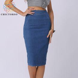 e7bb69846b Chictorso Sexy High Waist Skirts Blue Bodycon Pencil Plus Size Summer Long Denim  Skirt Women Saia Midi C19040901