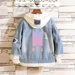 $enCountryForm.capitalKeyWord Australia - Womens Hoodies Sweatshirts BTS Kpop Love Yourself Denim Jean Stitching Jacket Coat Harajuku Bangtan Boy Clothes fans Spring Autumn Hoodies