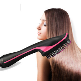 Wholesale Hot new multi function electric hot air comb wet and dry hair dryer hair straightener curler comb upgrade