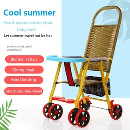 $enCountryForm.capitalKeyWord Australia - Hand-woven rattan chair trolley for baby in summer Portability and durability Easy to fold Child stroller