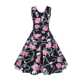 116b25a8112 Feitong Women Dress Audrey Hepburn 50s Vintage Printing Bodycon Sleeveless  Robe Retro Party Swing Rockabilly Dress Vestidos