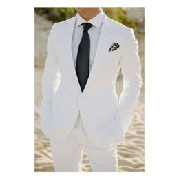 Gray Suit White Tie Australia - White Wedding Suits Slim Fit Groom Tuxedos One Buttons 2 Pieces Men Suits For Formal Prom Wear (Jacket+Pants+Tie)