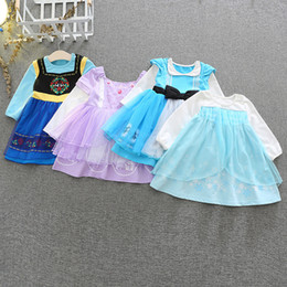 Princess Party dresses for babies online shopping - Children Girls Snow Queen Cosplay Fancy Princess Dress for Girl Mesh Long Sleeve dresses Baby Cartoon Costume Party Kids Clothing M1208