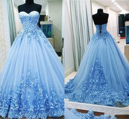 $enCountryForm.capitalKeyWord Australia - Sky Blue Sweetheart Ball Gown Prom Dresses New 2019 3D Floral Lace Appliques Tulle Corset Evening Gowns Sexy Engagement Dress Plus Size