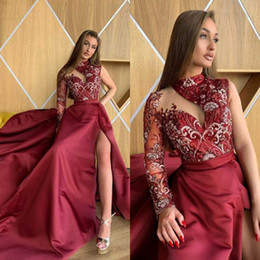 Discount one sleeve prom dresses slit - One Shoulder Burgundy Prom Dresses 2019 Lace Appliqued Long Sleeve vestidos de gala Thigh High Slit Plus Size Satin Prom
