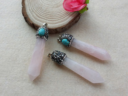 Crystal Geode Wholesale Australia - 5 pieces Druzy Natural rose Quartz Geode Stone, Paved rhinestone Crystal Turquoise Caps Charms Pendants Finding For Necklace Jewelry PD34