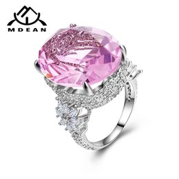 Wholesale Mdean Pink Stone White Gold Color Wedding Rings For Women Engagement Big Aaa Zircon Jewelry Ring Fashion Bague Valentine s Gift Y19052201