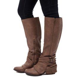 $enCountryForm.capitalKeyWord Australia - Hot Sale Fashion Women Knee Boots Three Colors Buckle Round Toe Shoes Low Heels Lady Short Boot