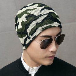 cap boy camouflage 2019 - Men's hat winter new army green camouflage sports knitted cap outdoor plus velvet double side sets warm beanies boy