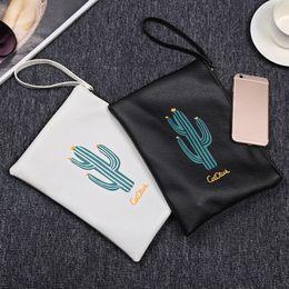 Color Leather Bags Australia - Cactus Print White Black Color Storage Bags Lady Women Purse Leather Handbag