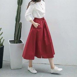 Navy polyester skirt online shopping - Spring New Skirts Summer Women A Line Midi Elastic Waist Casual Pure Color Female Red Navy Blue Linen Elegant Skirt