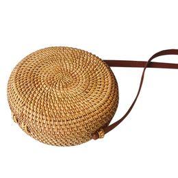 $enCountryForm.capitalKeyWord UK - Women Beach Bag Summer Big Totes With Zipper Circle Handwoven Bali Round Retro Rattan Straw Crossbody Handbag Shoulder Bag *10