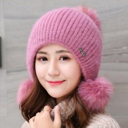 $enCountryForm.capitalKeyWord Australia - New Arrival Women Knitted Hats With Pom Poms Winter High Qaulity Thicken Elegant Casual Women's Hat Female Beanies B0411