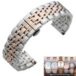 $enCountryForm.capitalKeyWord NZ - Metal Stainless Steel Watch Band Wrist Strap 16mm 18mm 20mm 22mm Replacement Butterfly Clasp Bracelet Men Women Black Rose Gold T190620