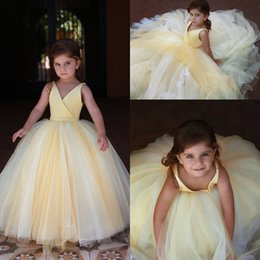Girls Party Cupcakes Australia - 2019 Cupcake V-neck Mini Flower Girl Dresses for Weddings Pageant Girls Formal Little Kids Birthday Party Gowns