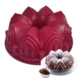 big cake silicone mold 2019 - Big Crown castle Cake Mold Silicone 3D Birthday Cake Pan Decorating Tools Large Bread Fondant DIY Baking Pastry Tool dis