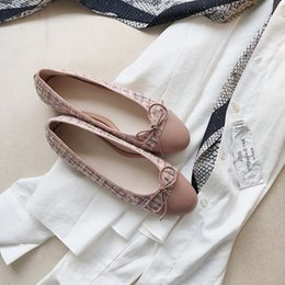 Pink canvas ballet shoes online shopping - 2019 woman lady tweed bowtie ballet flat shoes