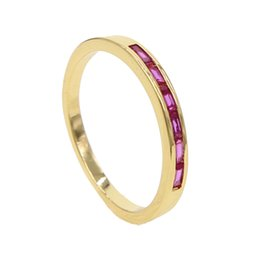 Finger Brass Ring Australia - New minimalist wedding finger jewelry for women red cubic ziron rhinestone gold filled delicate simple fashion rings size #6 7 8