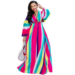 e10388220cb Rainbow Striped Summer Beach Dress Women Deep V Neck Long Falre Sleeve  Bohemian Long Dress Vintage Front High Split Maxi Dress