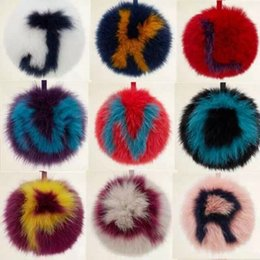 $enCountryForm.capitalKeyWord Australia - Oversized imported Fox fur with the same letter pompom gift for lovers fur bag F style hanging car key buckle