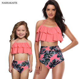 $enCountryForm.capitalKeyWord NZ - Nashakaite Mommy And Me Swimsuit Leaf Print Ruffled Mother Daughter Matching Swimsuits Summer Bikini Mae E Filha Family Swimwear Y19051504