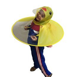 girl plastic hat 2019 - Creative Cartoon Duck Rain Hat Foldable Children Raincoat Umbrella Cape Cute Rain Coat Cloak Universal for Boys Girls Dr
