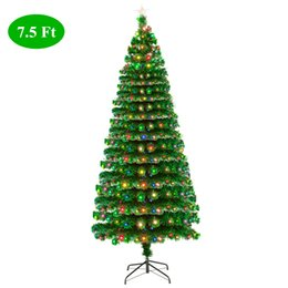 Christmas trees fiber optiC lights online shopping - US Stock FT Fiber Optic Christmas Tree with LED Lamps Branches Pre Lit Artificial Merry Christmas Decoration
