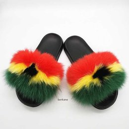 hair fur Australia - Natural Hair Slippers Women Fur Raccoon South Africa Fluffy Sliders Jamaica Furry Summer Sweet Ladies Shoes Nigeria Ghana