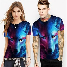 T Shirt Digital Printing Sport NZ - hot 2019 spring new wolf digital print T-shirt short-sleeved loose sports large size shirt bottoming shirt