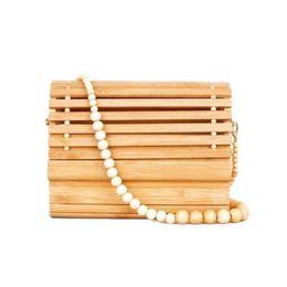 $enCountryForm.capitalKeyWord UK - 2019 Women Wooden Bead Shoulder Strap Bamboo Beach Bag Totes Handbag Ladies Handmade Straw Bag Summer Women's Purse J190702