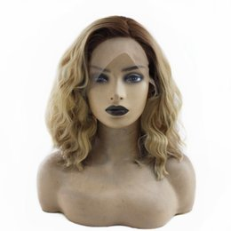 sexy wavy hair Australia - Sexy 2 Tones Brown Roots Ombre Blonde Synthetic Lace Front Wigs Heat Resistant Fiber Hair Dark Roots Short Wavy Wigs for Women
