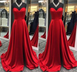 Nude Red Lining Dress Australia - 2019 Elegant Red Sweetheart Neck Evening Dresses A Line Satin Formal Occasion Prom Party Dresses Custom Made Hot Sale