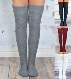 9d70ef97925 Over Knee High Girls Stockings Knitted Winter Long Socks Women Knitting Leg  Warmers Rhombus Crochet Socks Female Hosiery Thigh High Stocking