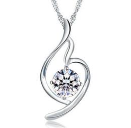 Discount amethyst pendant heart - Women Heart Pendant Necklace 925 Sterling Silver Ladies Luxury Zirconia Amethyst Crystal Pendant Water Necklace Purple S