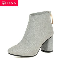 $enCountryForm.capitalKeyWord Australia - QUTAA 2020 Crystal Zipper Thick High Heel Autumn Winter Women Shoes Fashion Sequins PU Leather Square Toe Ankle Boots Size 34-43