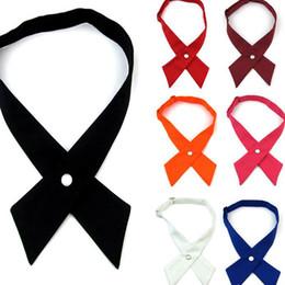 Venta al por mayor de Ajustables Cruz pajaritas para Hombres Mujeres sólido Business Casual cuello cruzado de Bowtie de la Escuela Uniforme Pre atado Arcos corbata Accesorios KKA7962