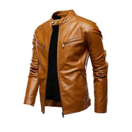 Wholesale lether jackets resale online - New Autumn Winter PU Lether Jacket Men Retro Jackets Long Sleeve Stand Collar Bomber Jacket Coat