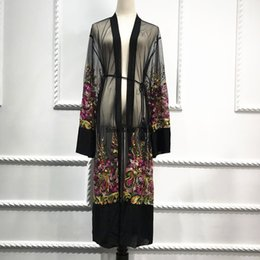 mesh long cardigan UK - Plus Size Long Shirt Women Kimono Plage Mujer 2020 Boho Floral Embroidery Chiffon Mesh Blouse Cardigan Clothing Roupas Feminina