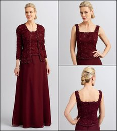 $enCountryForm.capitalKeyWord Australia - Plus Size Burgundy Elegant Mother Of The Bride Dresses With Lace Jacket Suits Beaded Off Shoulder Zipper Back Evening Gowns