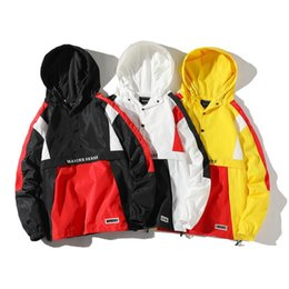 Wholesale hooded block resale online - Brand Hooded Jackets Men New Patchwork Color Block Pullover Jacket Fashion Tracksuit Coat Men Hip Hop Streetwear Jacket Men Size S XL