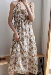 Gold Lace Peplum Dress Australia - eer west small pure and fresh and broken beautiful condole belt skirt holiday accept waist sleeveless dress very fairy French niche characte